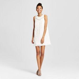 Xhilaration White Crochet Yoke Shift Dress